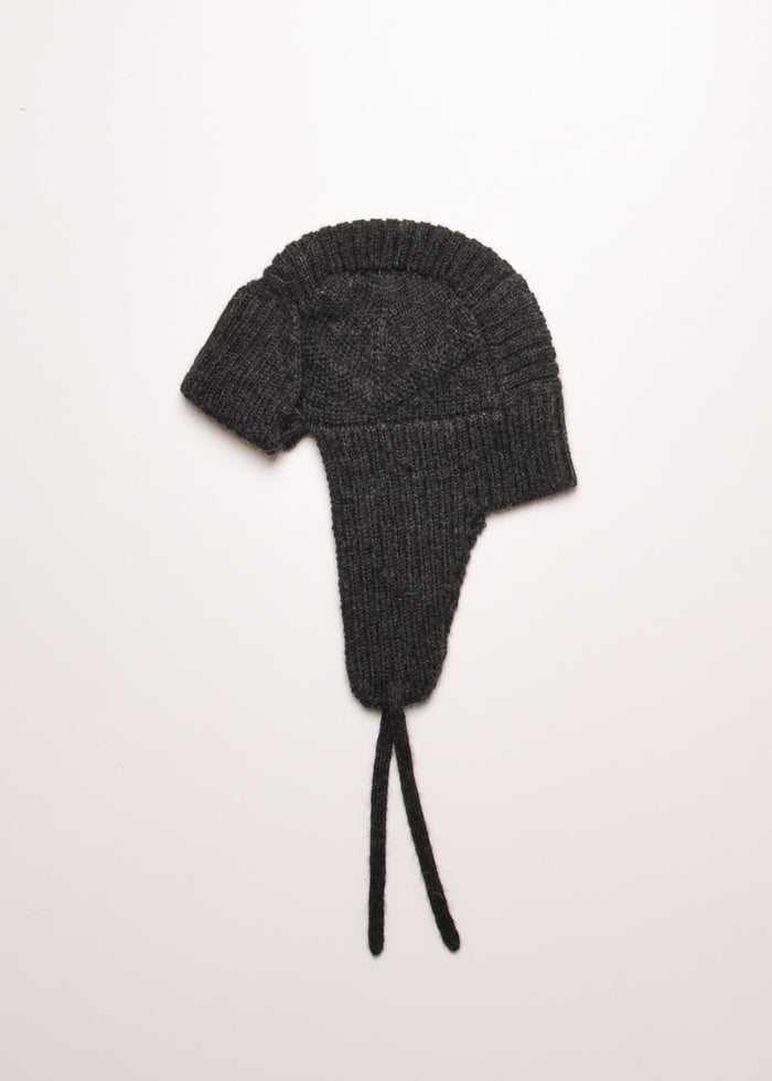 KNIT AVIATOR HAT - CHARCOAL