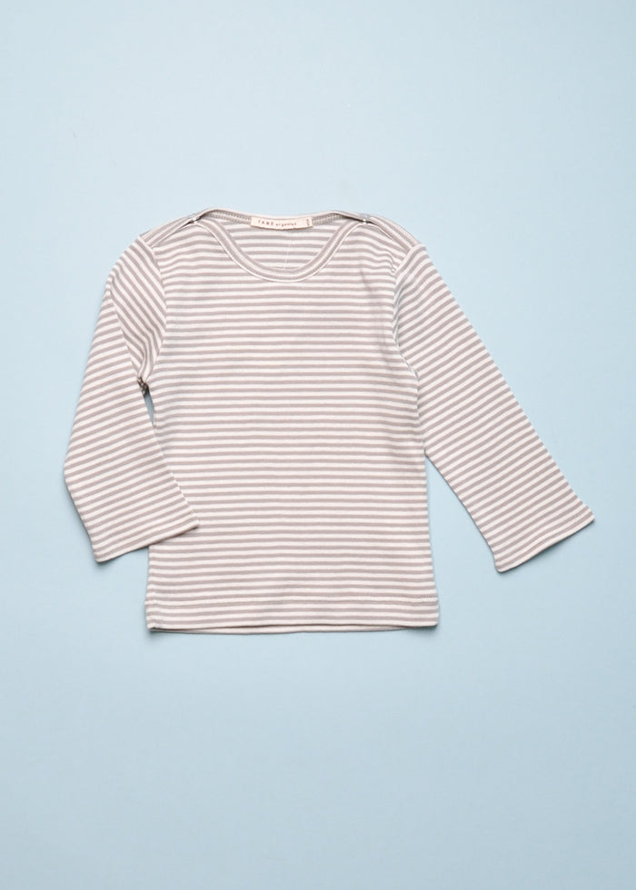 ORGANIC STRIPE TEE - GREY