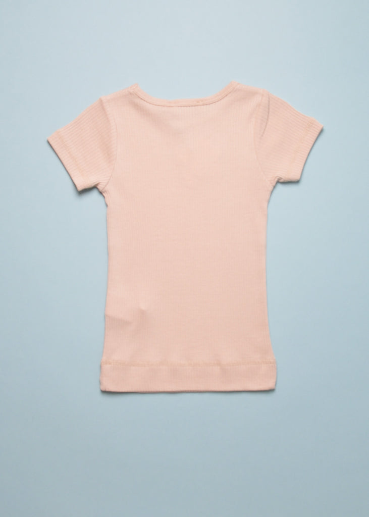 RIBBED TEE - ROSE MOON