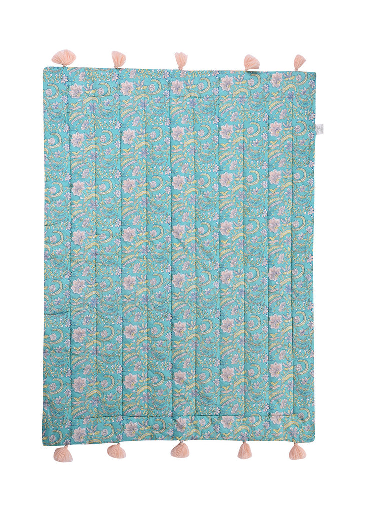 FLORAL QUILTED BLANKET - TEAL