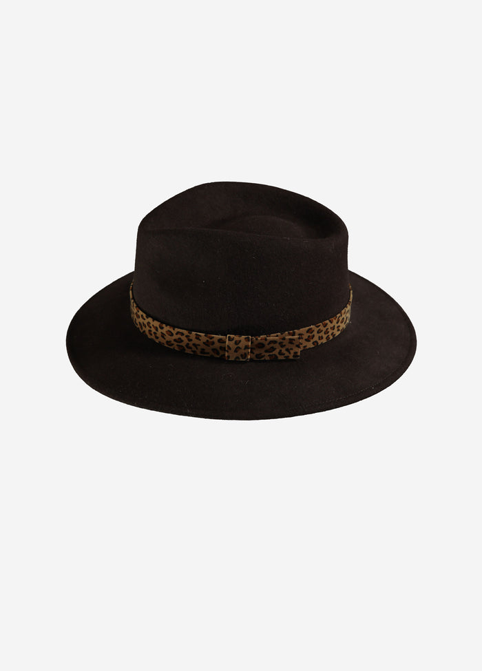 LEOPARD TRIM HAT