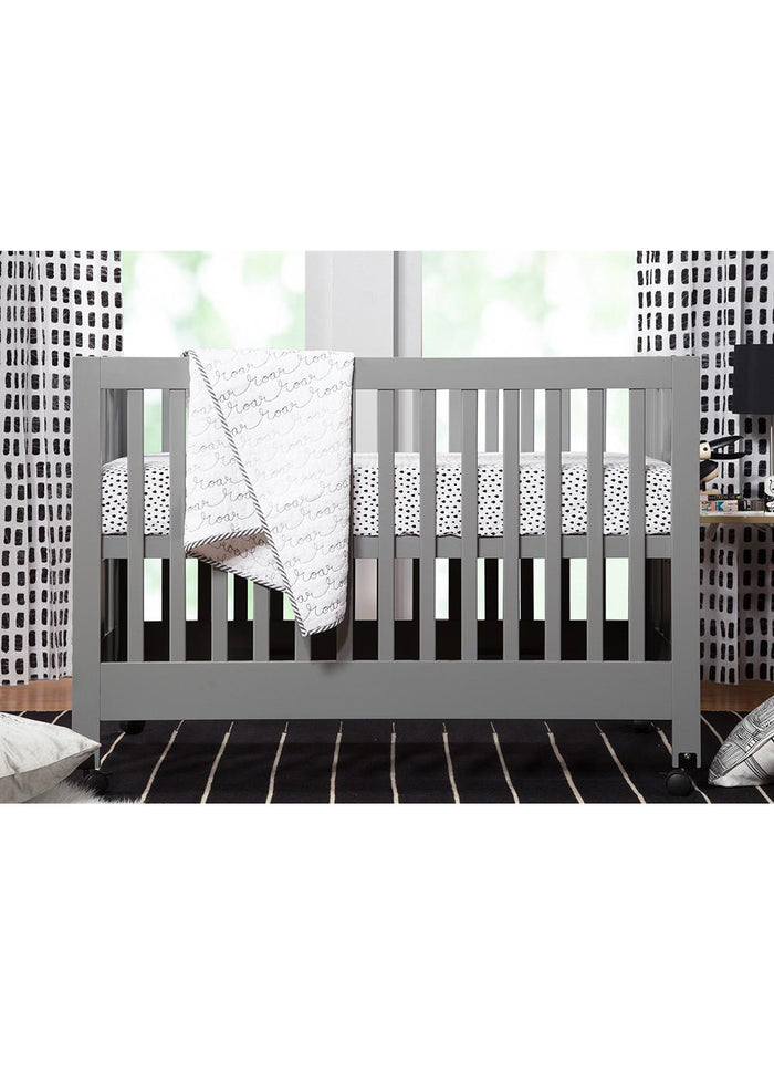 MAKI FULL SIZE FOLDING PORTABLE CRIB - GREY