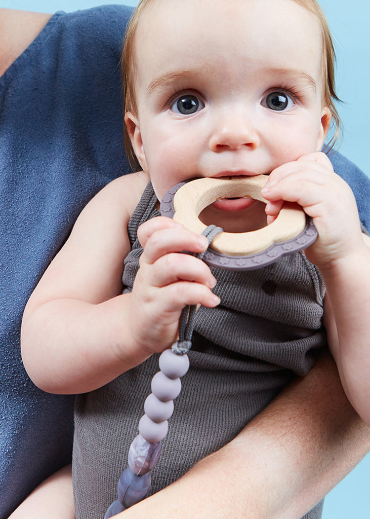 TEETHER/PACIFIER CLIP - PEWTER
