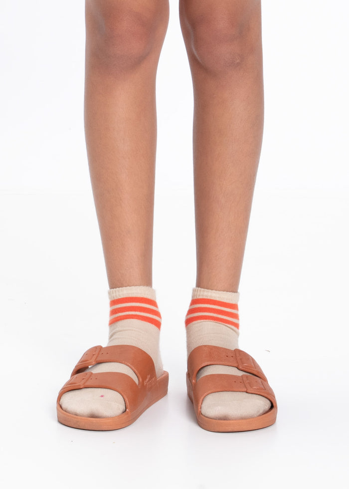 STRIPE ANKLE SOCKS - SAND