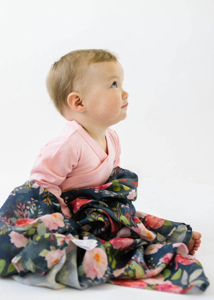 LUXE MUSLIN SWADDLE - MIDNIGHT BLOOM