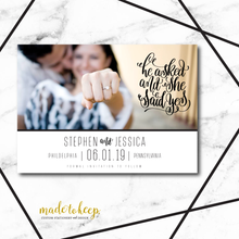 He Asked, She Said YES! Save the Date Card