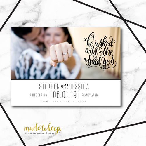 SAV002 He Asked, She Said YES! Save the Date Card