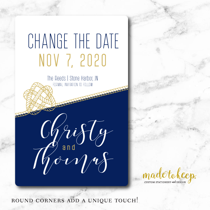 CHSAV004 - 5x7 CHANGE the DATE Card - Nautical Knot Navy