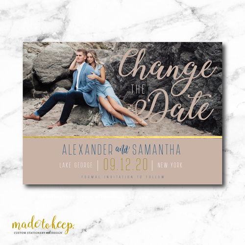 CHSAV005 - 5x7 CHANGE the DATE Card - Elegant Gold Photo