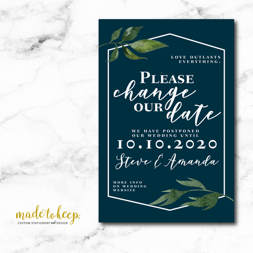 CHSAV002 - 5x7 CHANGE the DATE Card - Navy White Greenery