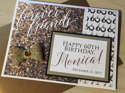 Friends Forever Girlfriend Sparkle Birthday (any age) handmade one-of-a-kind Greeting Card