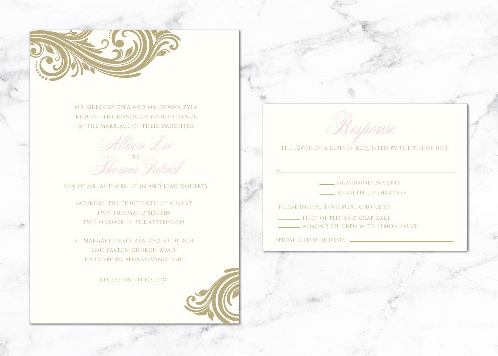 Elegant Scroll in Gold Allison Digital WED005a