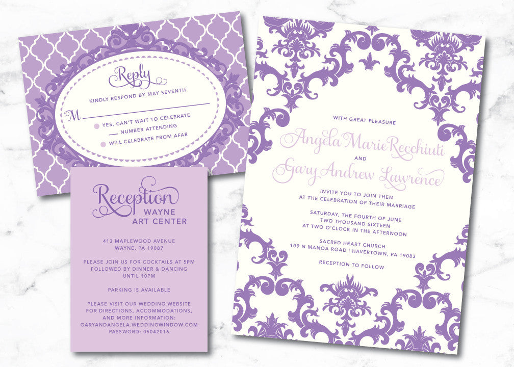 Damask Colors Wedding Invitation