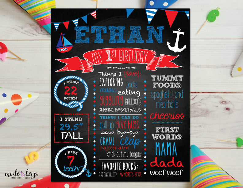 Birthday Chalkboard Sign for Birthday Party Nautical Boats Ocean Boy Girl (any age!)