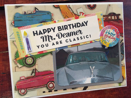 Classic Cars Birthday handmade one-of-a-kind Greeting Card