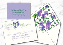 Purple Floral Watercolor Wedding Invitation with Musical Notes WED002