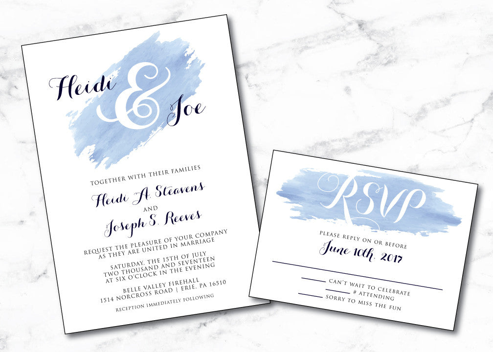 Blue Watercolor Brushed Monogram Wedding Invitation WED003 made to