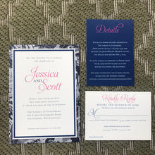 Classy Navy & Hot Pink (Subtle Comic Border) Wedding Invitation WED5002