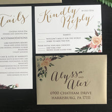 Floral Bohemian Feather Woodsy Wedding Invitation WED5004