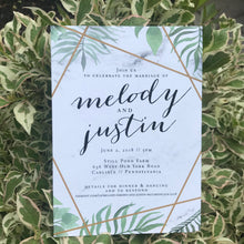 Natural Greenery and Marble Wedding Invitation WED5003