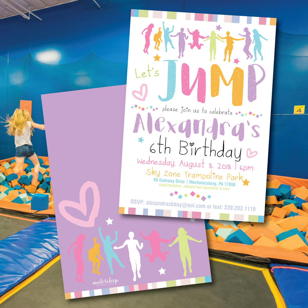 Girls' Bounce House/ SkyZone Birthday Invitation