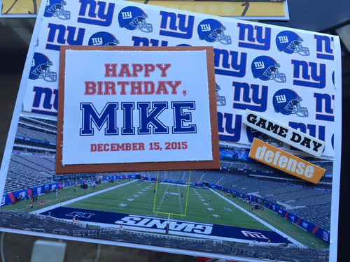 New York NY Giants Football Birthday handmade one-of-a-kind Greeting Card (custome for ANY TEAM!)