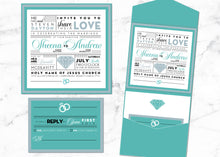 Modern Shimmer Square Design in Pocket Folder Wedding Invite - Sheena WED0012