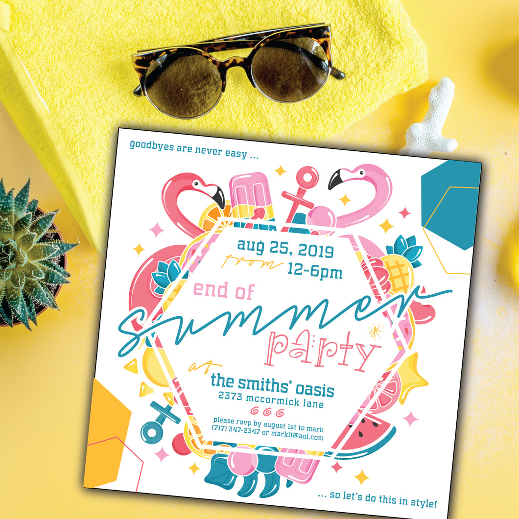 Summer Pool/Beach Flamingo Party End of Summer Invitation (Square Size)