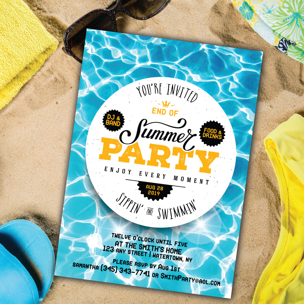 Summer Pool/Beach Party End of Summer Invitation