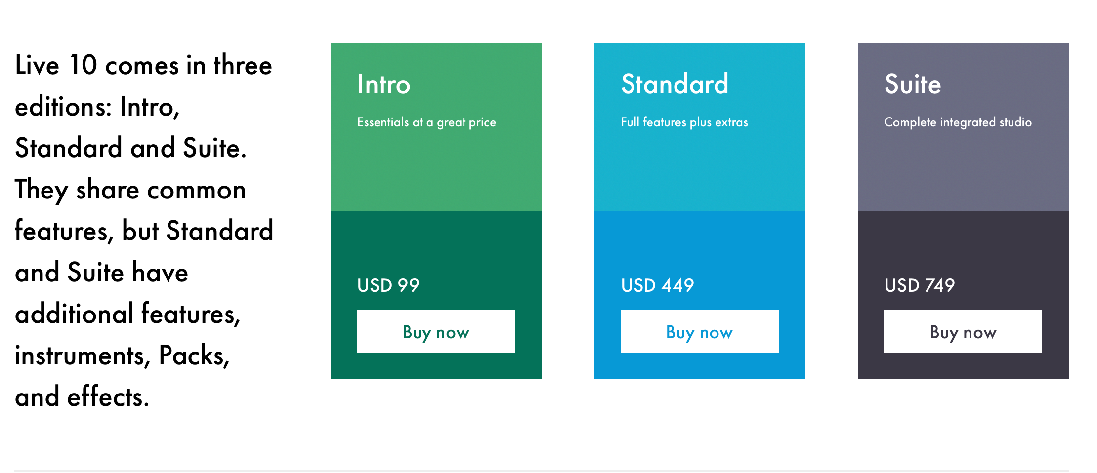 Ableton Live 10 Pricing