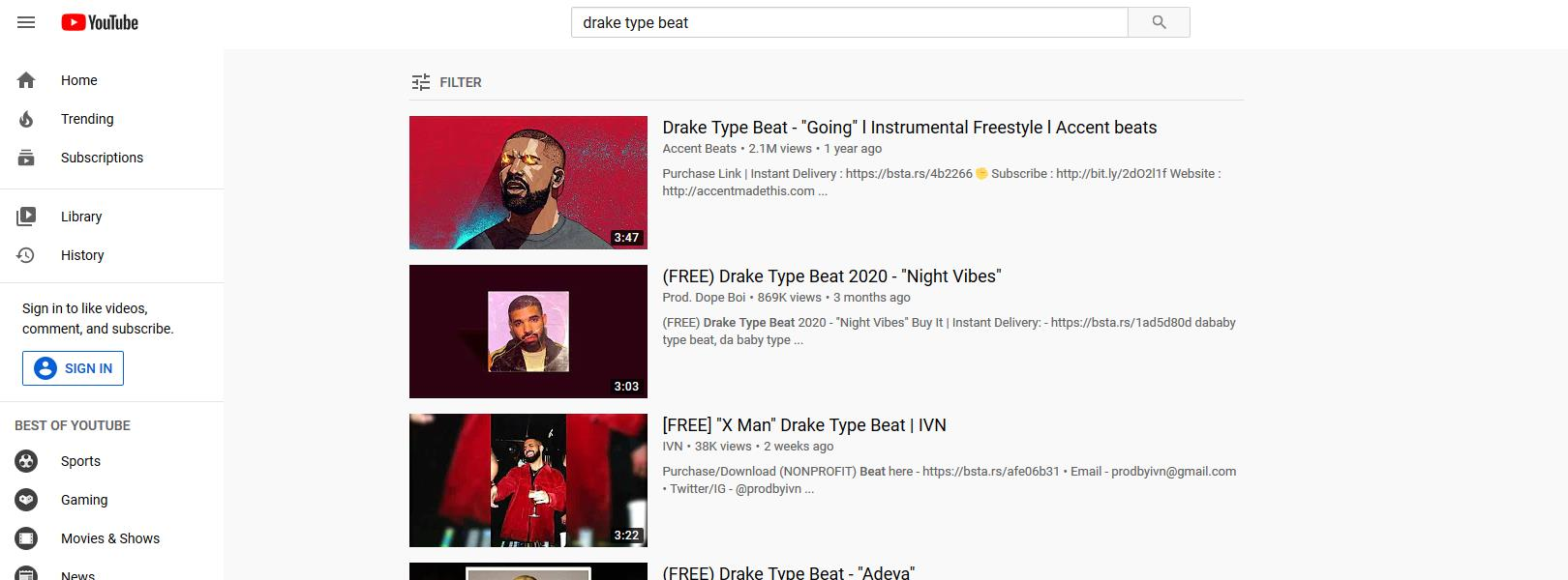 drake type beats on youtube