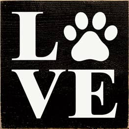 Love - Pawprint Wood Sign