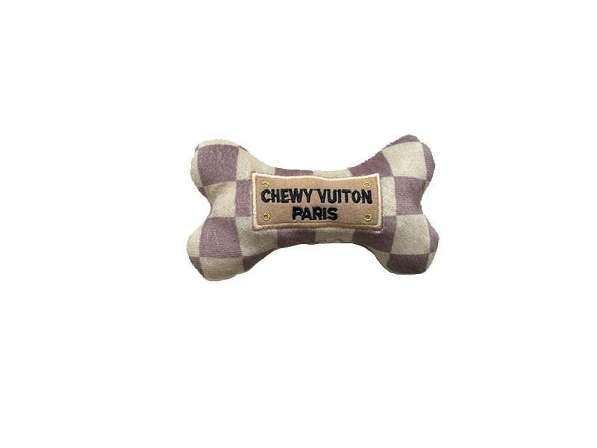 Chewy Vuiton Checkered Bone Toy