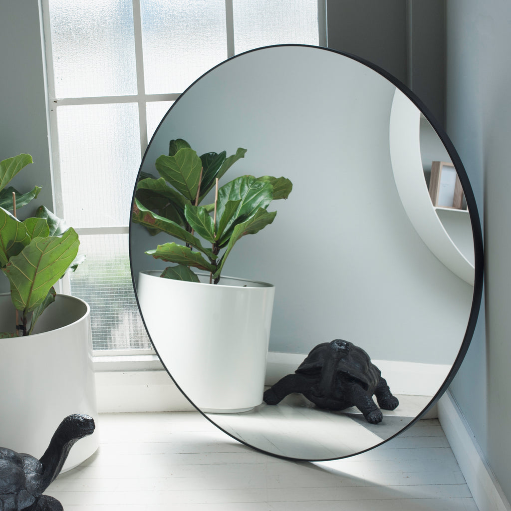 Circle Mirror Black Wood Large