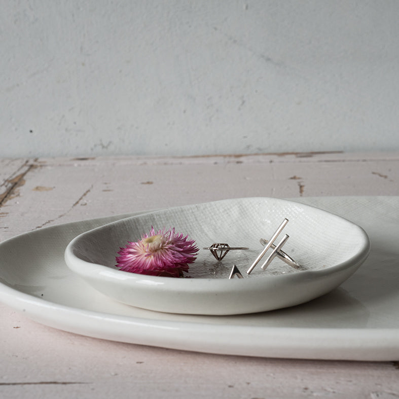Waiheke Ceramics Natural hessian Plates, Small Dish