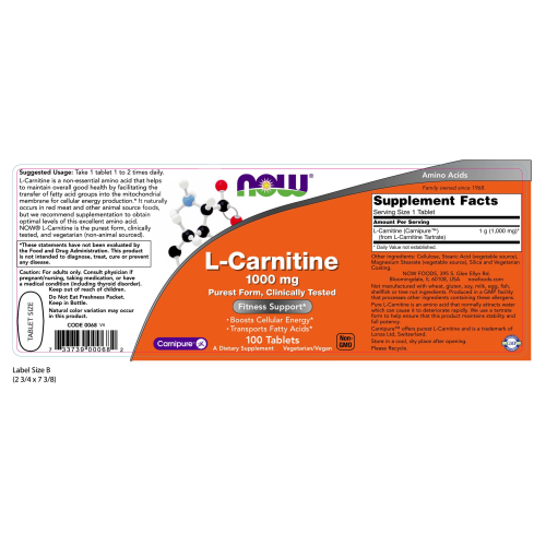 NOW FOODS -L-Carnitine 1000 mg - 100 Tablets