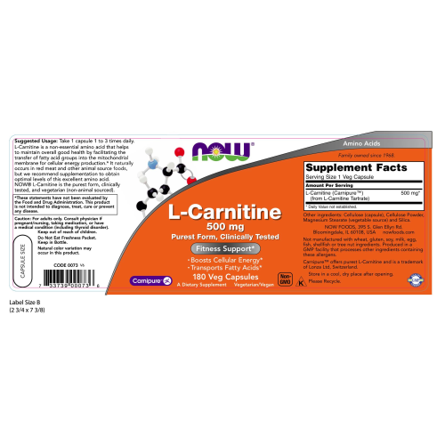 NOW FOODS -L-Carnitine 500 mg - 180 Veg Capsules