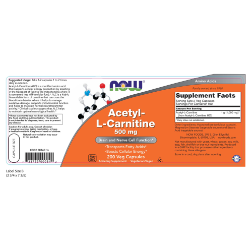 NOW FOODS -Acetyl-L-Carnitine 500 mg - 200 Veg Capsules