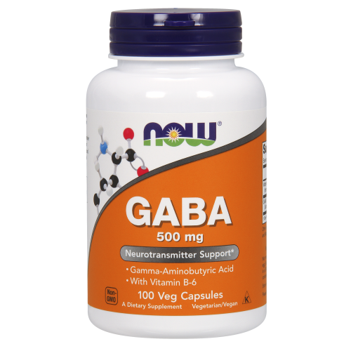 NOW FOODS -GABA 500 mg + B-6 - 100 Veg Capsules