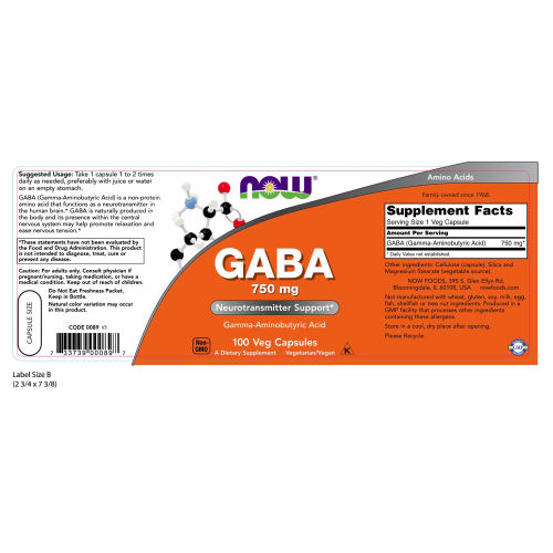 NOW FOODS -GABA 750mg - 100 Veg Capsules