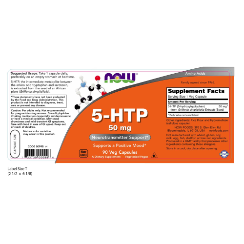 NOW FOODS -5-HTP 50 mg - 90 Capsules