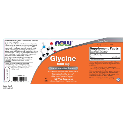 NOW FOODS -Glycine 1000 mg - 100 Capsules