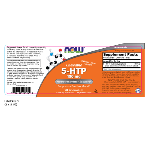 NOW FOODS -5-HTP 100 mg - 90 Chewables