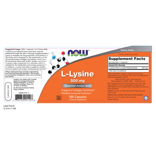 NOW FOODS -L-Lysine 500 mg - 100 Capsules