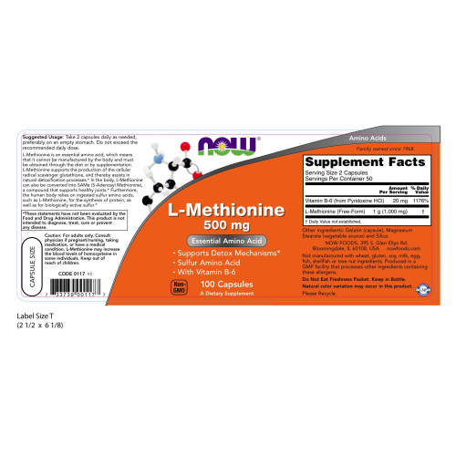 NOW FOODS -L-Methionine 500 mg - 100 Capsules