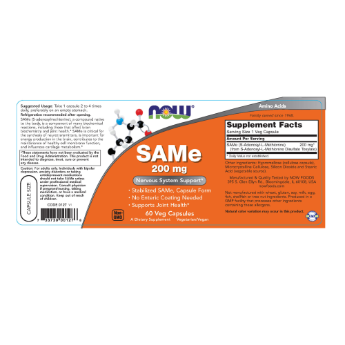 NOW FOODS -SAMe 200 mg - 60 Veg Capsules