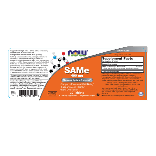NOW FOODS -SAMe 400 mg - 30 Tablets