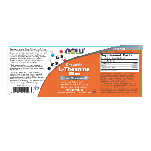 NOW FOODS -L-Theanine 100 mg - 90 Chewables
