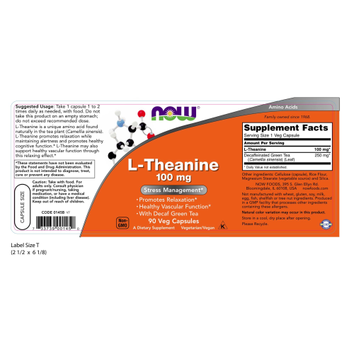 NOW FOODS -L-Theanine 100 mg - 90 Veg Capsules