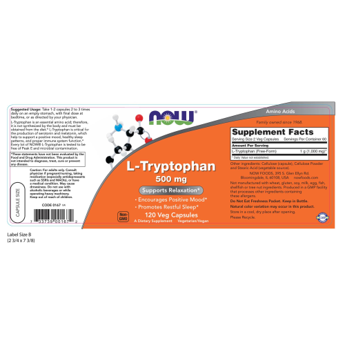 NOW FOODS -L-Tryptophan 500 mg - 120 Veg Capsules